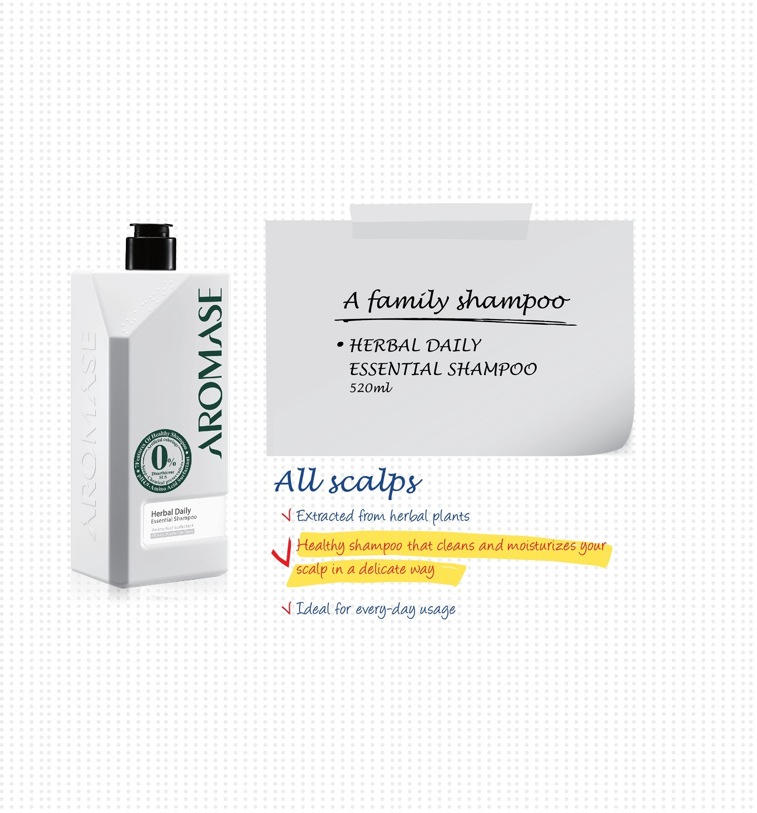 Aromase Herbal Daily Essential Shampoo 520ml + Aromase 5α Juniper Scalp  Purifying liquid Shampoo 80ml on sale at RM49 90